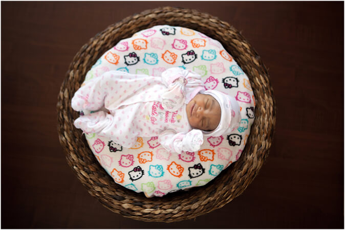 newborn baby in the basket